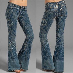 FB Discharge Bali Boho Bell Bottom Printed Jeans